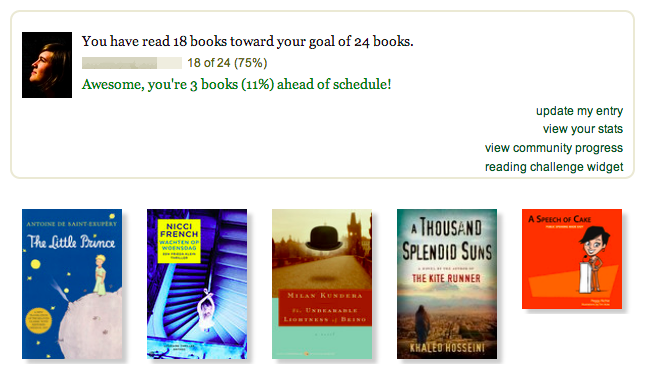 Source: My goodreads reading challenge